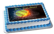 Baseball Ball in Fire and Water - Edible Cake Topper OR Cupcake Topper, Decor