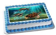Sea Turtles - Edible Cake Topper OR Cupcake Topper, Decor