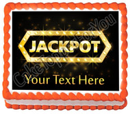 Jackpot gold casino lotto label - Edible Cake Topper OR Cupcake Topper, Decor