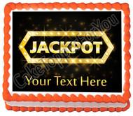 Jackpot gold casino lotto label - Edible Cake Topper OR Cupcake Topper, Decor