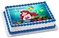 ARIEL THE LITTLE MERMAID 1 Edible Birthday Cake Topper OR Cupcake Topper, Decor