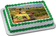 White Wine with Barrel on Vineyard - Edible Cake Topper OR Cupcake Topper, Decor