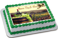 Red Wine with Barrel on Vineyard - Edible Cake Topper OR Cupcake Topper, Decor