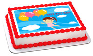 Little girl flying with baloons - Edible Cake Topper OR Cupcake Topper, Decor