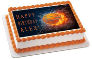 BASKETBALL FIRE Edible Birthday Cake Topper OR Cupcake Topper, Decor