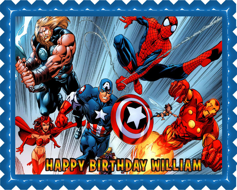 Peachy Avengers Edible Birthday Cake Topper Funny Birthday Cards Online Elaedamsfinfo