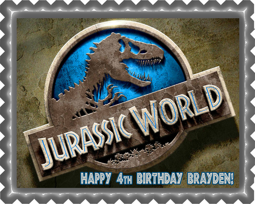 Jurassic World 1 Edible Birthday Cake Topper OR Cupcake Decor Price 795 Image