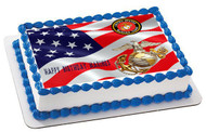 US MARINE CORPS Edible Birthday Cake Topper OR Cupcake Topper, Decor
