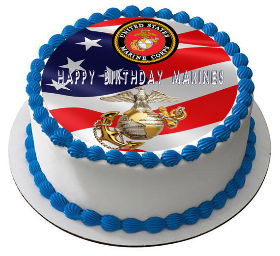 Awesome Us Marine Corps Edible Birthday Cake Topper Personalised Birthday Cards Akebfashionlily Jamesorg