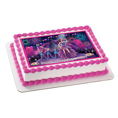 Barbie Princess And The Popstar 3 Edible Birthday Cake Topper
