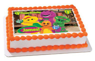 BARNEY and FRIENDS Edible Birthday Cake Topper OR Cupcake Topper, Decor