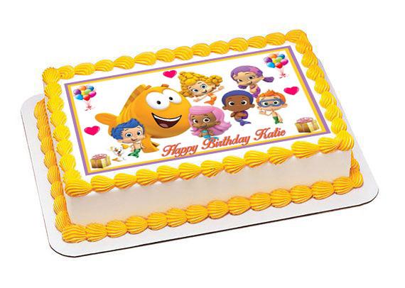 Peachy Bubble Guppies 3 Edible Birthday Cake Topper Personalised Birthday Cards Veneteletsinfo