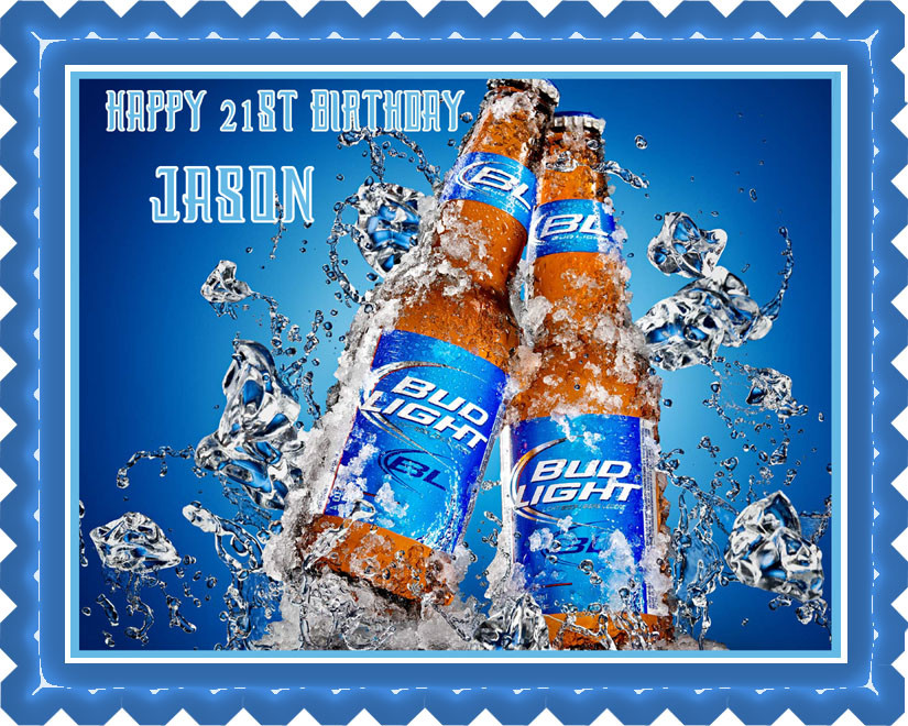 Terrific Bud Light Edible Birthday Cake Topper Personalised Birthday Cards Cominlily Jamesorg