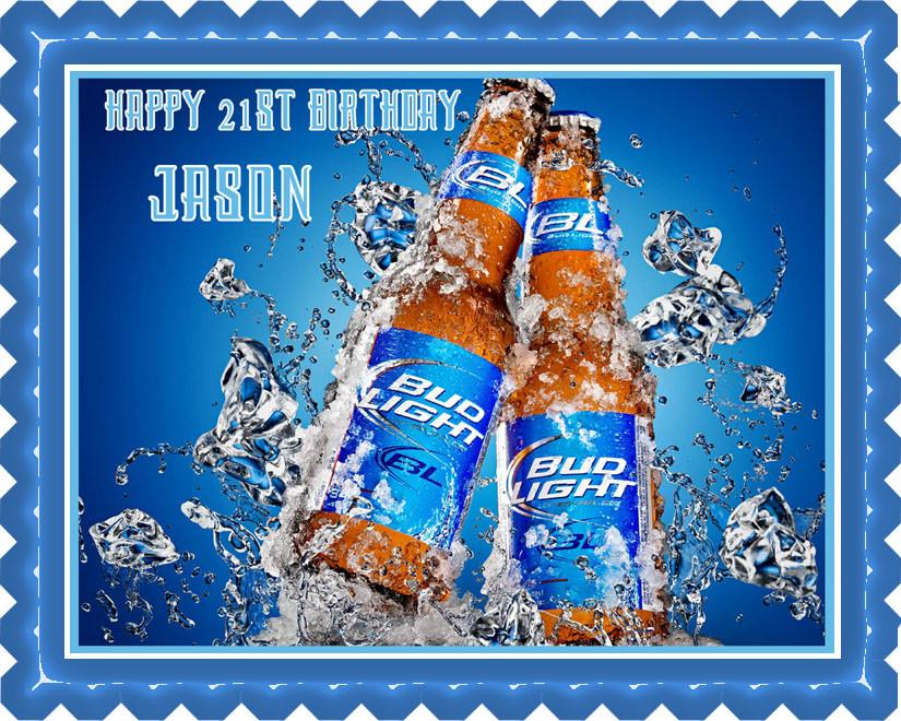 Astounding Bud Light Edible Birthday Cake Topper Funny Birthday Cards Online Elaedamsfinfo
