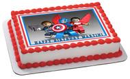 Captain America Lego Edible Birthday Cake Topper OR Cupcake Topper, Decor