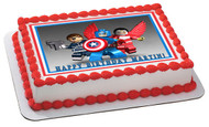 Captain America Lego Edible Birthday Cake Topper OR Cupcake Topper, Decor