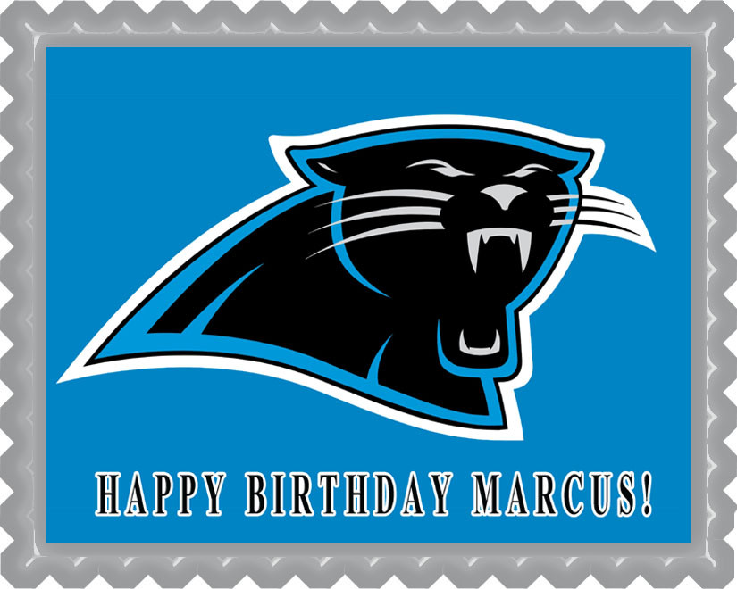 Carolina Panthers Edible Birthday Cake Topper OR Cupcake Topper, Decor
