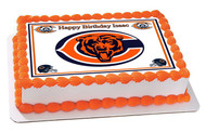 Chicago Bears Edible Birthday Cake Topper OR Cupcake Topper, Decor
