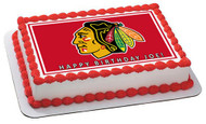 CHICAGO BLACKHAWKS 2 Edible Birthday Cake Topper OR Cupcake Topper, Decor