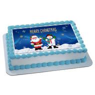 CHRISTMAS 2 Edible Birthday Cake Topper OR Cupcake Topper, Decor