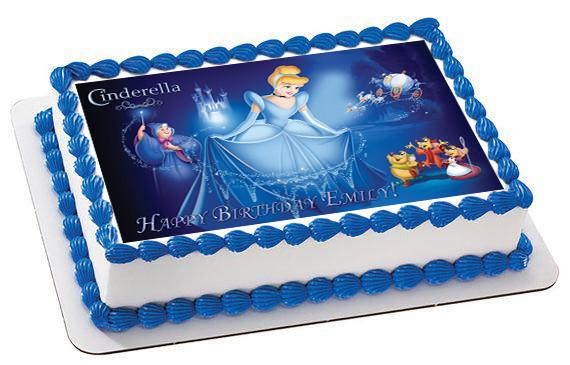 Fabulous Cinderella 3 Edible Birthday Cake Topper Funny Birthday Cards Online Alyptdamsfinfo