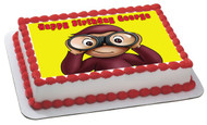 Curious Georg 2 Edible Birthday Cake Topper OR Cupcake Topper, Decor