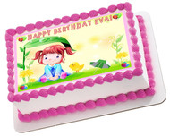 Cute Girl Edible Birthday Cake Topper OR Cupcake Topper, Decor