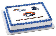 Denver Broncos Edible Birthday Cake Topper OR Cupcake Topper, Decor