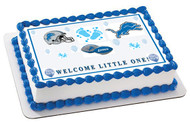 Detroit Lions Baby Sower Edible Birthday Cake Topper OR Cupcake Topper, Decor