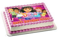 Dora and Friends 2 Edible Birthday Cake Topper OR Cupcake Topper, Decor