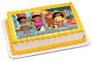 Dora and Friends 4 Edible Birthday Cake Topper OR Cupcake Topper, Decor