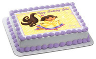 Dora Princess Edible Birthday Cake Topper OR Cupcake Topper, Decor