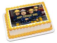 Fireman Sam 1 Edible Birthday Cake Topper OR Cupcake Topper, Decor