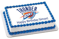 Oklahoma City Thunder Edible Birthday Cake Topper OR Cupcake Topper, Decor