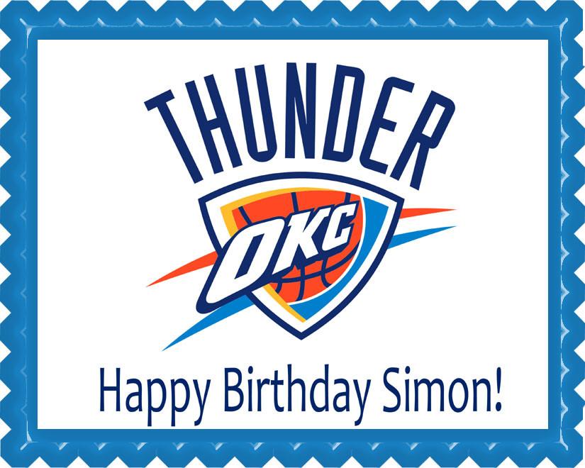 Brilliant Oklahoma City Thunder Edible Birthday Cake Topper Funny Birthday Cards Online Inifofree Goldxyz
