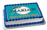 Florida Marlins Edible Birthday Cake Topper OR Cupcake Topper, Decor