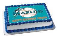 Florida Marlins Edible Birthday Cake Topper OR Cupcake Topper, Decor