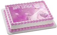 Flowers pink rose Edible Birthday Cake Topper OR Cupcake Topper, Decor