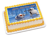 FROZEN  Happy Olaf Edible Birthday Cake Topper OR Cupcake Topper, Decor