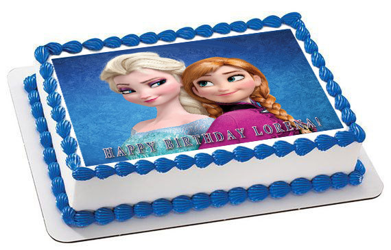 Frozen Elsa Anna Edible Birthday Cake Topper 1//4 or 1//2 sheet Frosting Icing