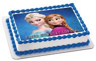 Frozen Anna and Elsa Edible Birthday Cake Topper OR Cupcake Topper, Decor