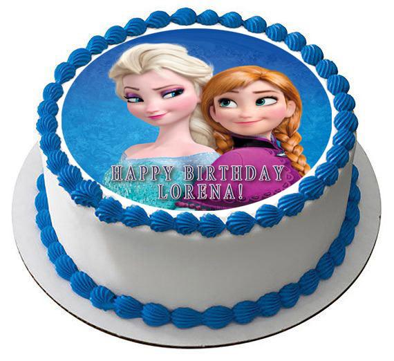 Frozen Anna And Elsa Edible Birthday Cake Topper