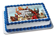 Grand Theft Auto Edible Birthday Cake Topper OR Cupcake Topper, Decor