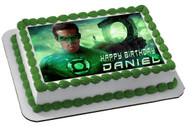 Green Lantern Edible Birthday Cake Topper OR Cupcake Topper, Decor