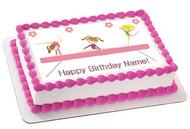 Gymnastics Tumbling Gym Girls Edible Birthday Cake Topper OR Cupcake Topper, Decor