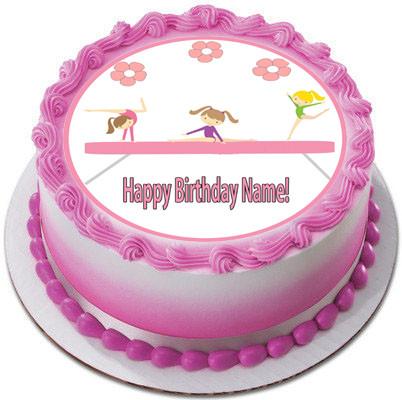 Gymnastics Tumbling Gym Girls Edible Birthday Cake Topper
