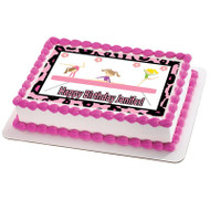 Gymnastics Zebra Tumbling Gym Girls Edible Birthday Cake Topper OR Cupcake Topper, Decor