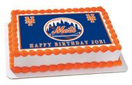 New York Mets Edible Birthday Cake Topper OR Cupcake Topper, Decor