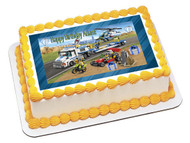 Helicopter Transporter Lego Edible Birthday Cake Topper OR Cupcake Topper, Decor
