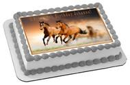 Horses Edible Birthday Cake Topper OR Cupcake Topper, Decor